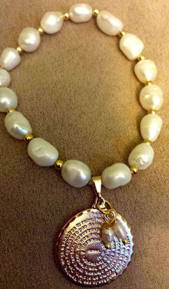 Beautiful Water Pearls Bracelet featuring a Padre Nuestro Charmcharm 100% gold filledreal Water pearls