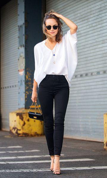 blusa morcego + jeans skinny