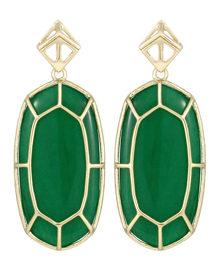 Della Statement Earrings in Green - Kendra Scott Jewelry