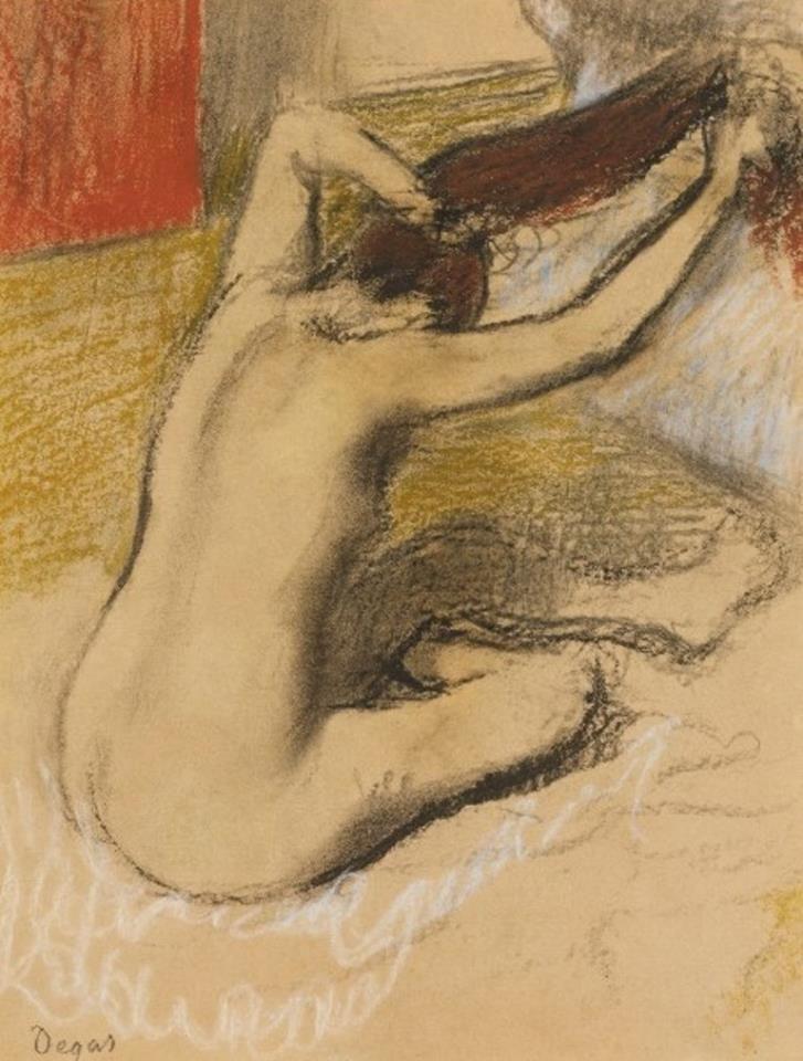 Edgar Degas - Femme se peignant, c. 1889-92 #arte