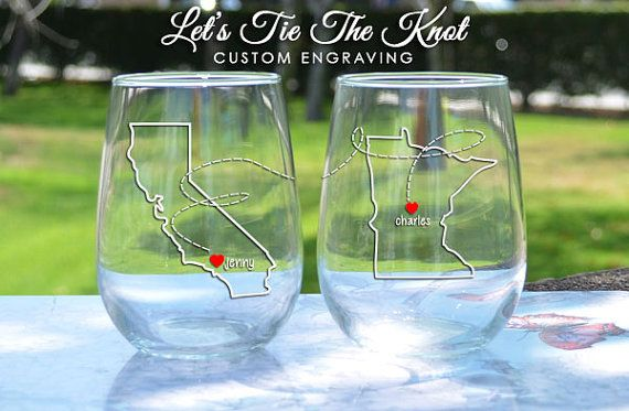 State to State - State Outline - Best Friend Wine Glasses - Custom Engraved Wine Glasses by LetsTieTheKnot, $35.95