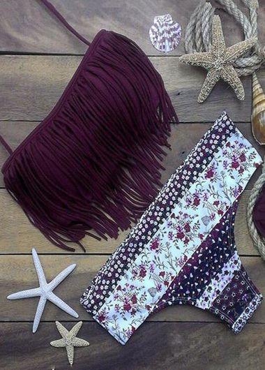 Open Back Tassel Design Bra and Panty Swimwear