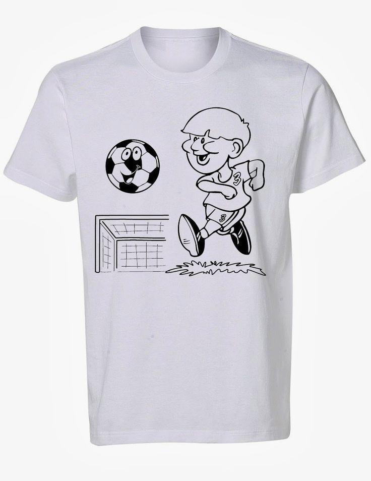 Voetbalfeestje? Eerst gaan de kinderen hun eigen voetbal t-shirt inkleuren. Daarna aantrekken en voetbal-spelletjes spelen!