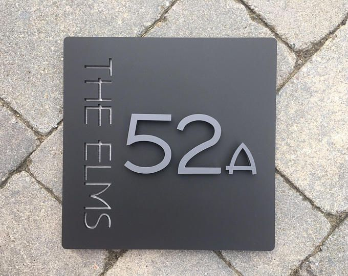 House Sign Door Number Plaque Landscape Rectangle Sign Etsy