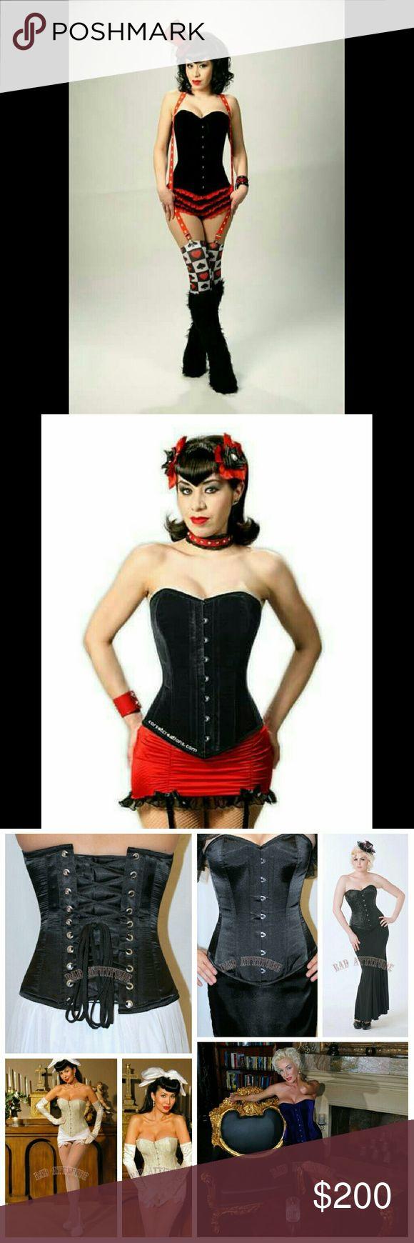 Clip zip waist trainer perfect floral design waist training cinchers - Corset Creations Katrina Black Velvet Corset