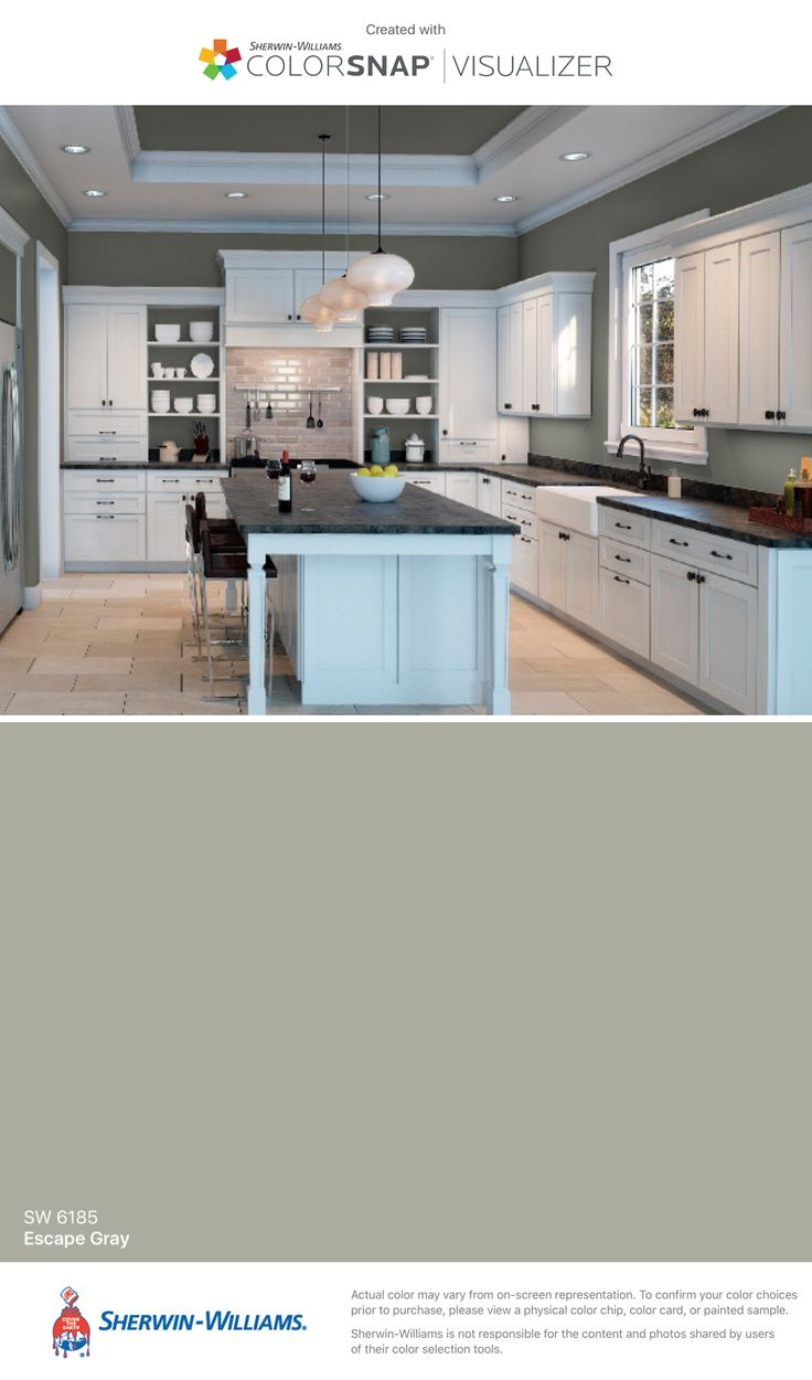 Sherwin Williams Escape Gray paint color in Kitchen Demonstration from Sherwin Williams Color Snap app
