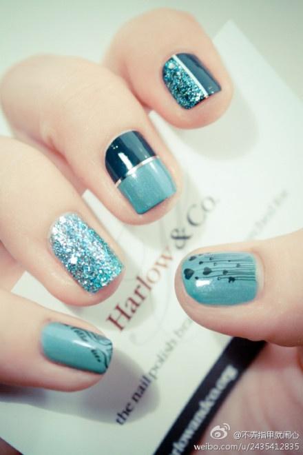 I like it!Nails Art, Teal Nails, Nailart, Nails Design, Colors, Nailsart, Bluenails, Nail Art, Blue Nails