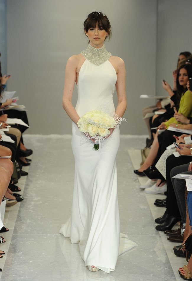 Crystal Turtleneck Sheath Wedding Dress | Theia White Collection Fall 2015 | Blog.theknot.com