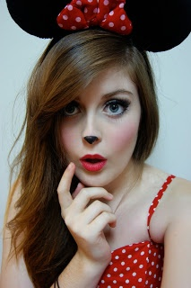 Minnie Mouse make up. It would be cute to be minnie for halloween sometime.