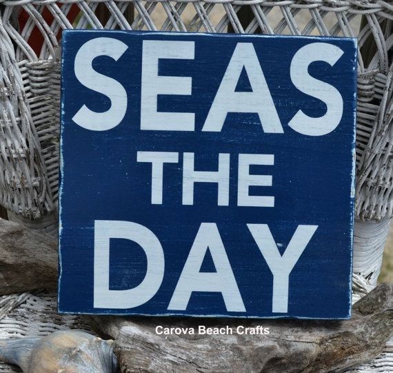 Beach Decor - Beach Sign - Nautical Decor - Coastal - Navy - Seas The Day - Rustic - Beach Theme - Beach House Wall Hanger