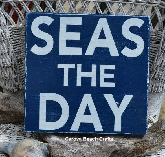 Beach Decor  Beach Sign  Nautical Decor  Seas The Day