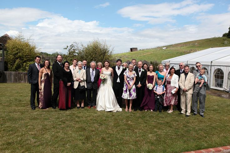 Group and family shot at a small wedding.