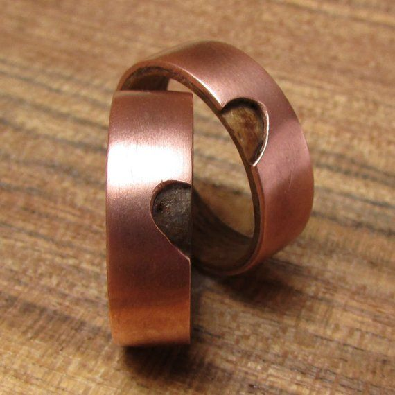 Wood And Copper Wedding Band Set His And Hers Couples Rings