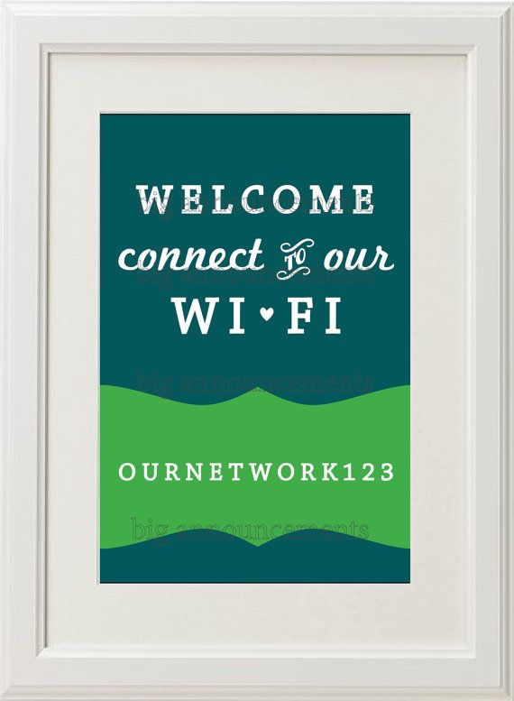 Printable WiFi password poster from Big Announcement -- Stylish way to display your WIFI password for guests in your home.