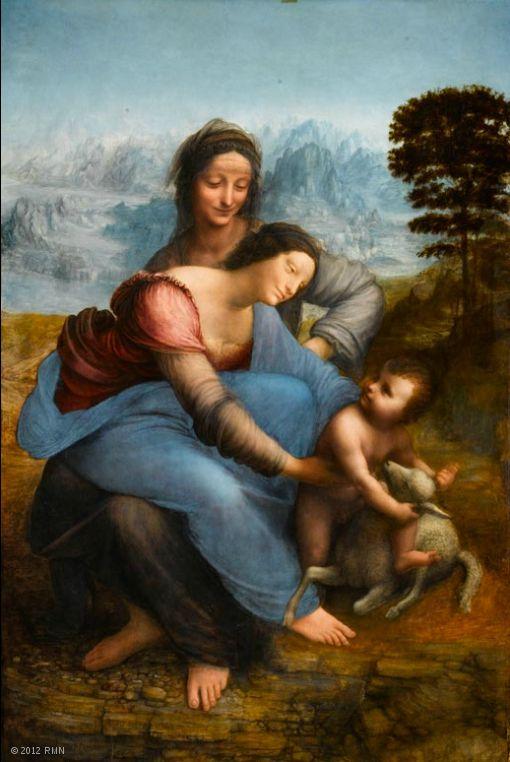 Sainte Anne, vierge et enfant Sainte Anne est l'axe de la composition inscrite dans un prisme. Les figures s'emboîtent les unes dans les autres : le bras droit d'Anne se confond avec celui de Marie, dont la tête recouvre l'épaule de sa mère, le bras gauche de Marie est prolongé par celui du Christ. Cet enchaînement exprime l'idée de descendance, ainsi que l'Incarnation du Christ dont le destin, la Passion, est annoncé par l'agneau et le précipice au bord duquel il se trouve.