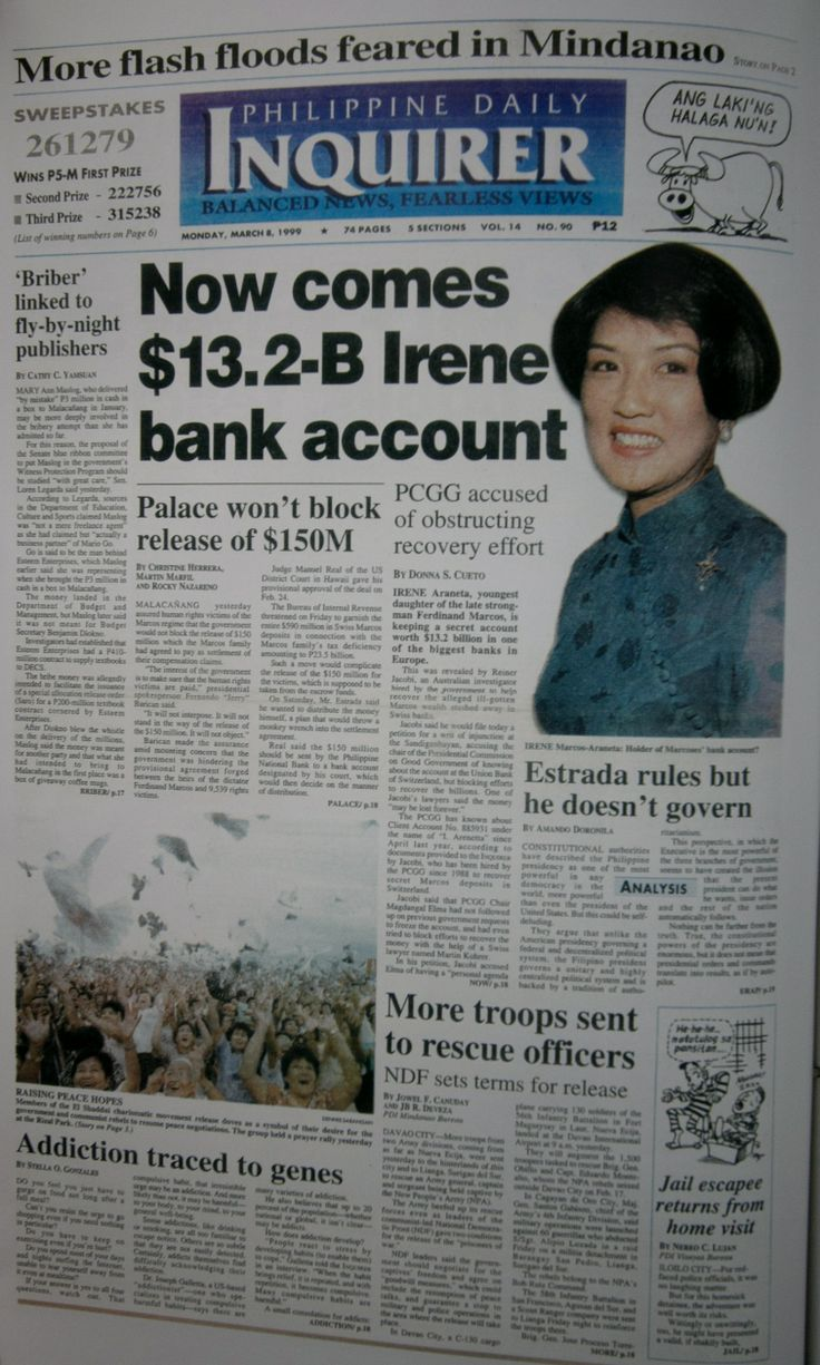 #INQBack March 8, 1999: Now comes $13.2-B Irene bank account. (PCGG accused of obstructing recovery effort). Also on Front Page: Estrada rules but he doesn't govern by Amando Doronila. #15yearsago #history