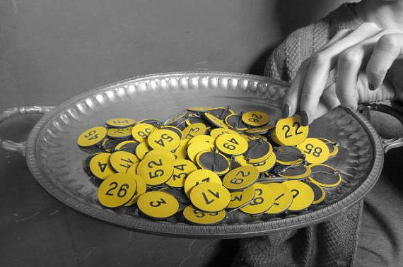 Vintage Yellow Pin With Number OOAK for each number by GingerLab, €6.00