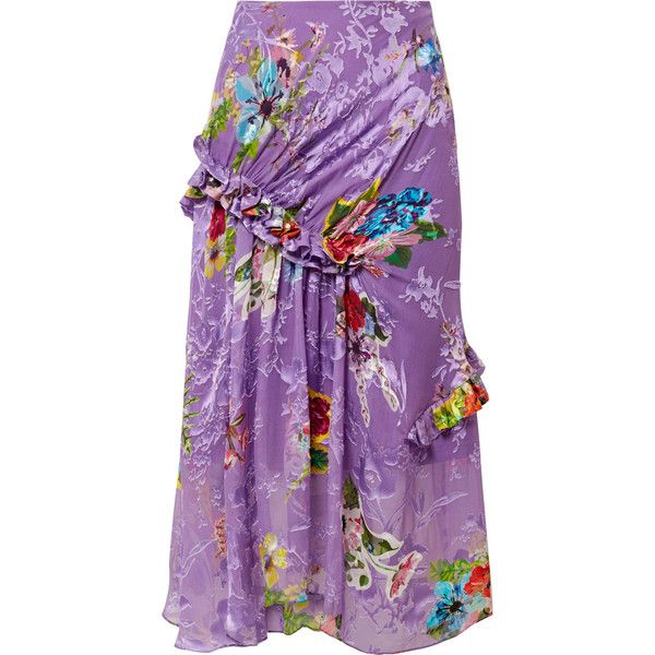 Preen by Thornton Bregazzi Elsa ruffled fil coupé silk-blend midi... ($740) ❤ liked on Polyvore featuring skirts, purple, floral midi skirt, colorful skirts, frilled skirt, floral print skirt and calf length skirts