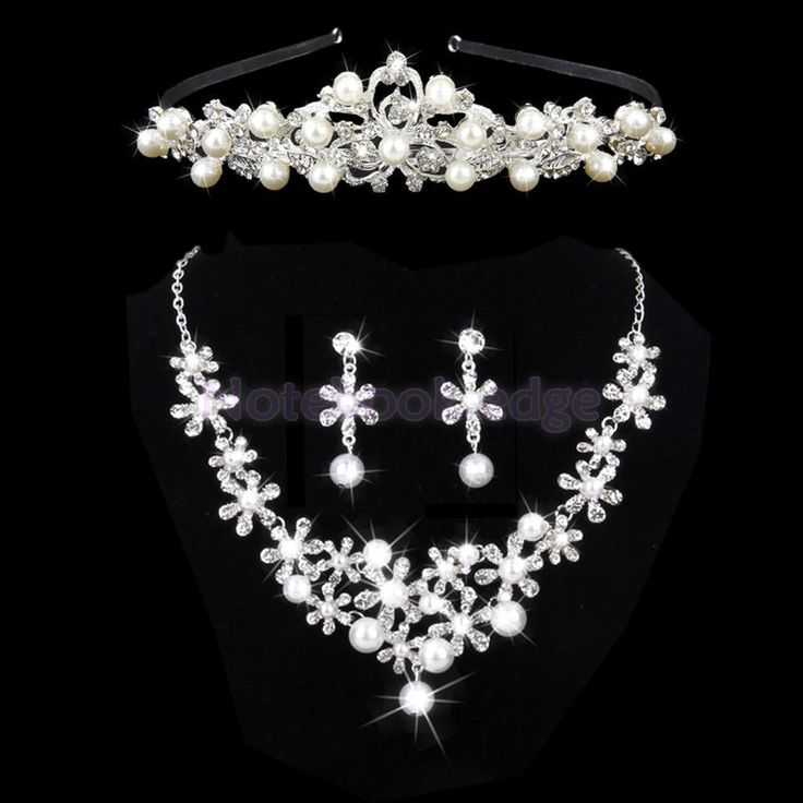 Bridal Jewelry Pearls Crystal Necklace & Earrings & Headband Jewelry Set