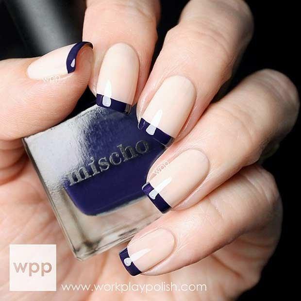 Nude and Navy Blue French Tip Nail Design