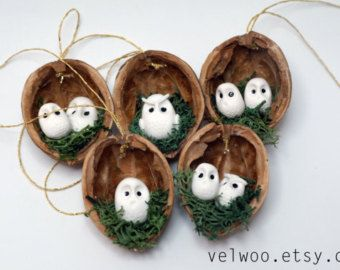 Owl woodland ornaments walnut shell ornaments Nature Gift Tags christmas ornament  These hanging ornaments or mobiles are beautiful and unique for year round decor. Would also be great for gift tags. This Christmas tree ornament listing includes a collection of 3 owl woodland ornaments.  Super cute nursery decoration and wonderful for wedding and party favors too. However it can be a perfect gift for any owl fun! Perfect decoration for that funny and cute Christmas tree. These would make a…