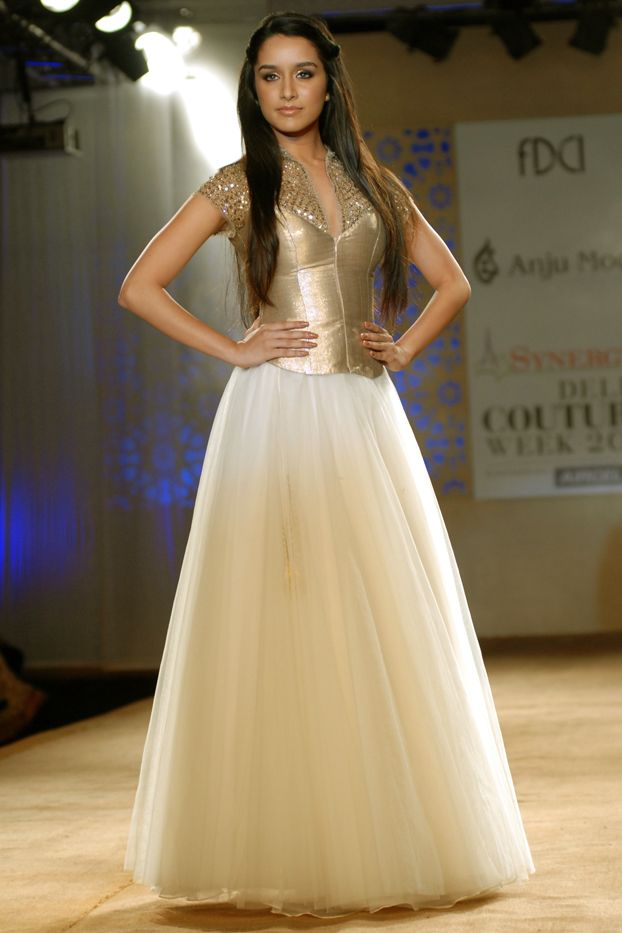 Perfect piece to be worn to a sweet sixteen party or prom <3 -Shraddha Kapoor at Anju Modi