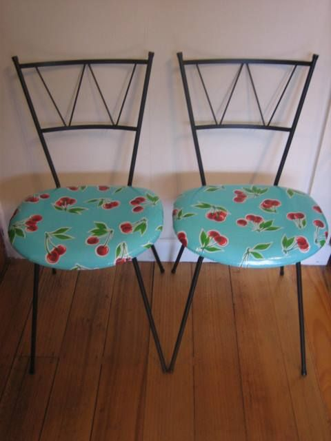 Kitchen parfait chairs recovered in easy clean fabric.