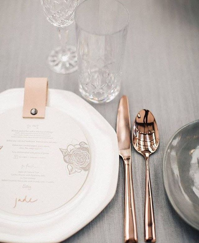 Pastel palettes and copper accents surrounding our luxe letterpress & leather personalised menu's from the #NRDMUM…