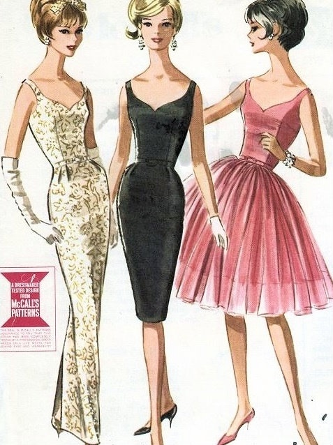 1960s FIGURE SHOW OFF EVENING GOWN COCKTAIL DRESS PATTERN SLIM or FULL SKIRTED, PLUNGING NECKLINES, BACK McCALLS 6571