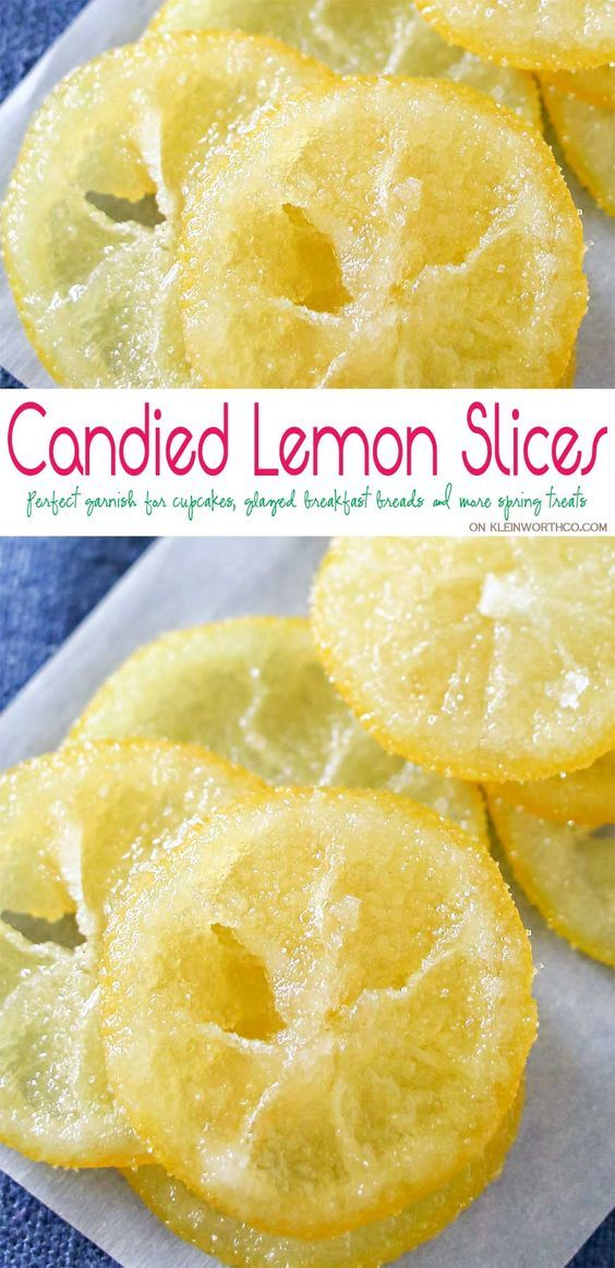 Beautiful Candied Lemon Slices are perfect for topping on pastries, cupcakes, cocktails & more spring treats! Easy recipe & a great way to use those lemons. Plus you can use all the leftover lemon simple syrup to add to all your favorite cocktails later. Don't miss how I use it as the key ingredient in my most popular recipe here on Kleinworth & Co.