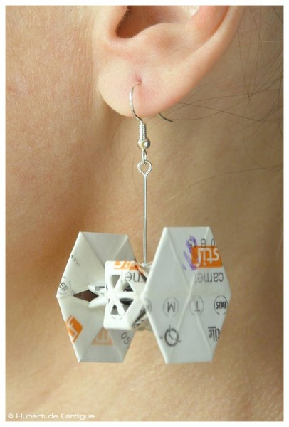 Hubert de Lartigue turns Paris Metro tickets into ber-cool Star-Wars earrings.