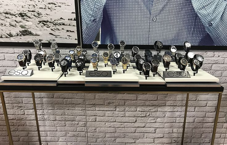 We recently designed and produced display presentations for ESQ watches.  In the tradition of bold, American style, ESQ watches offer the heritage of fine watch time-keeping to the wrist of today's contemporary man.  To ensure that the ESQ presentation embodied the essence of style, a clean presentation was developed utilizing subtle tones and finishes to enhance their designs.