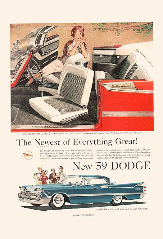 VINTAGE DODGE CAR Ad - Rockabilly Car Poster Garage Poster Mechanic Car Wall Art…