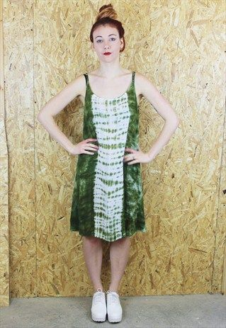 """An amazing 90s bold green and white tie-dye finish sun dress with thin spaghetti straps. In excellent vintage condition. For full measurements go to the Sizing & Care section. (Please note, items are measured flat) N.B. Model Saskia is 5'9""""."""