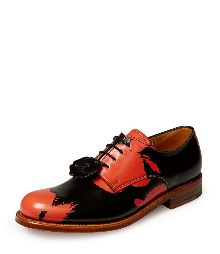 Women's Grenson Black Red Absence Of Roses Derby Shoes #AW16