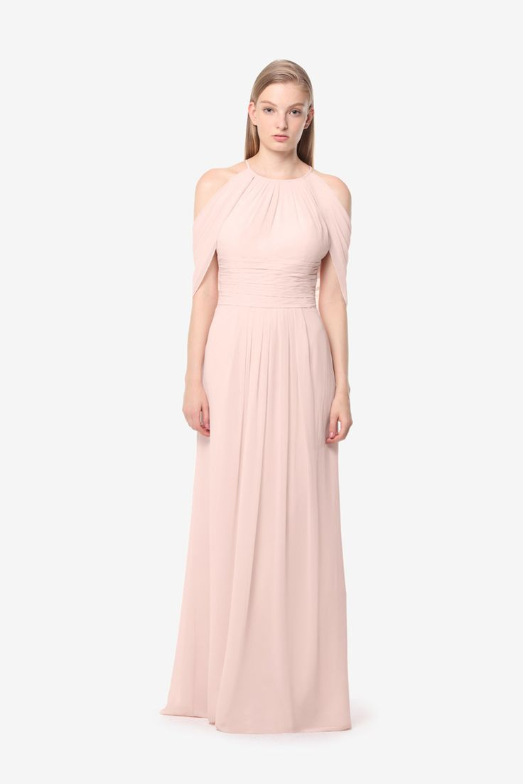 Kate  bridesmaid gown by David Tutera for Gather & Gown. Light pink bridesmaid gown. Rose Quartz bridesmaid gown.