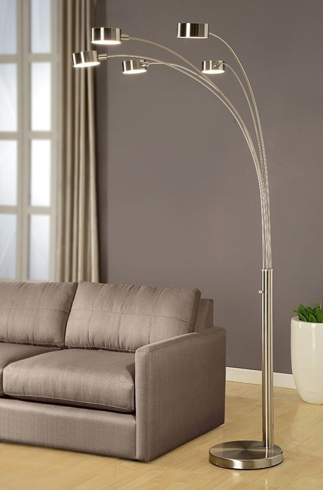 5 Light Modern Arched Floor Lamp Adjustable Arms With Rotatable