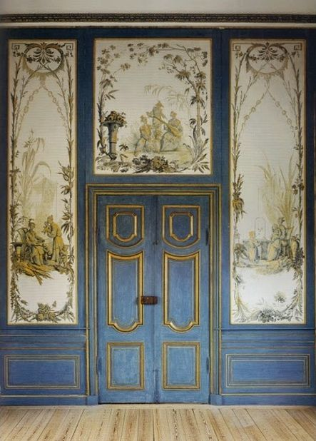 Blue and White Interior Architecture and Mouldings - laurel home | #chinoiserie panels at Drottningholm Palace Chinese Pavilion