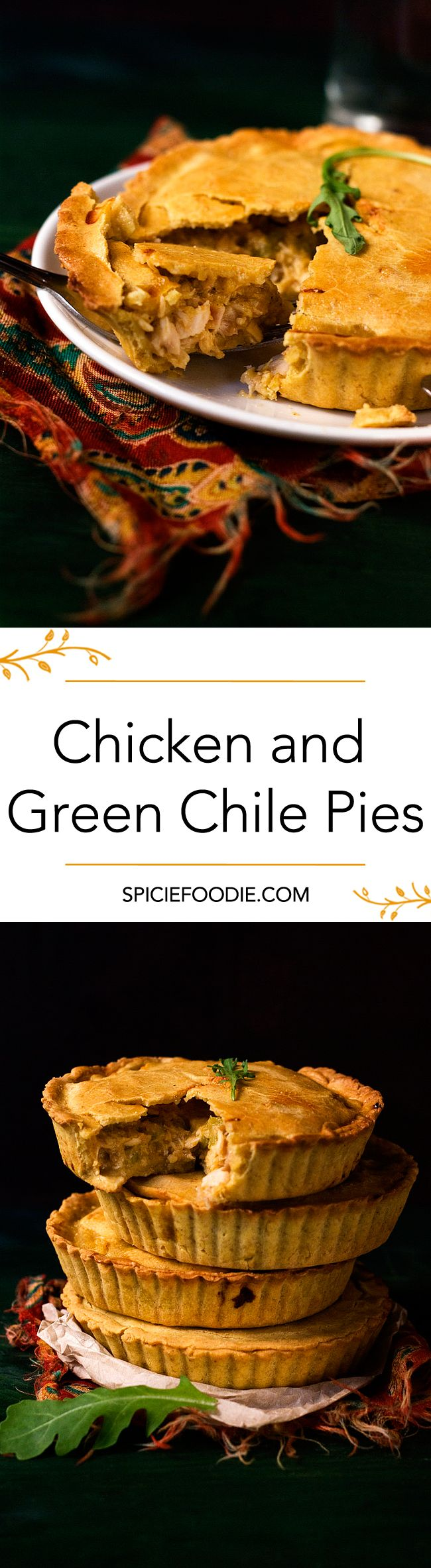 Chicken and Green Chile Pies Made with Corn and Oat Flour Pie Crust  | #Mexican #fusion #chicken #potpie #jalapeno