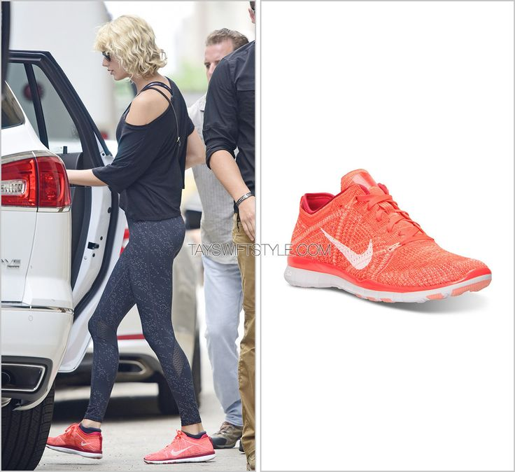 Leaving the gym | New York City, NY | August 8, 2016 Nike 'TR Flyknit Sneakers in Bright Crimson/White/Red' - $129.99 Worn with: Under Armour bra, Bandolier bag and Under Armour leggings Check out all the times Taylor has worn these sneakers here.