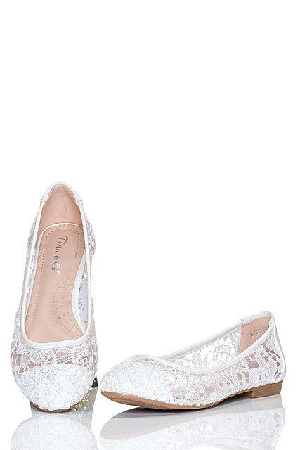 Bailarinas zapatos mujer bajos encaje floral transparente | Blanco Seda | Tina & Co