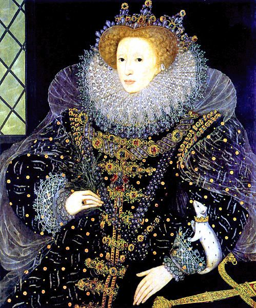 Elizabeth I of England (1533–1603), last Tudor monarch over England. Reigned 1558–1603