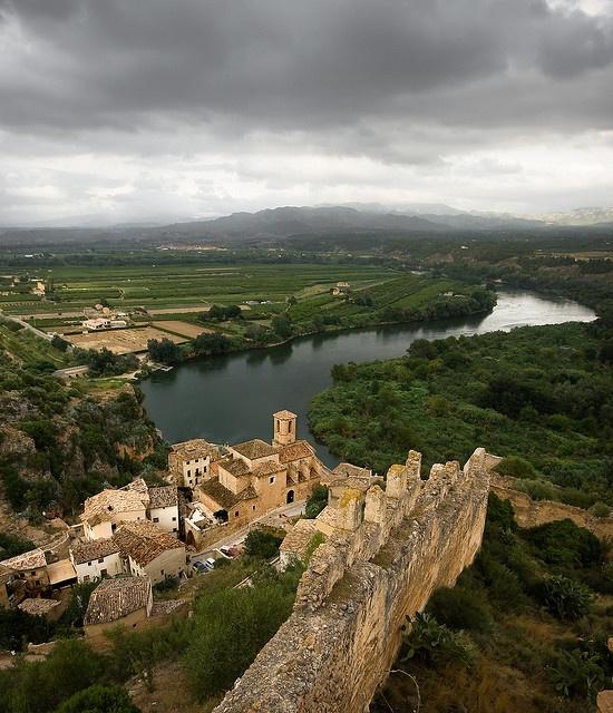 Castillo de Miravet, overlooking the Ebro River, in the province of Tarragona, Spain.