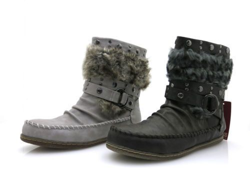 Mustang Ankle Boots Ladies' Shoes Boots With Faux Fur Studs Warm Short Boots