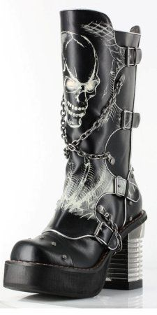 Black knee high steampunk boot
