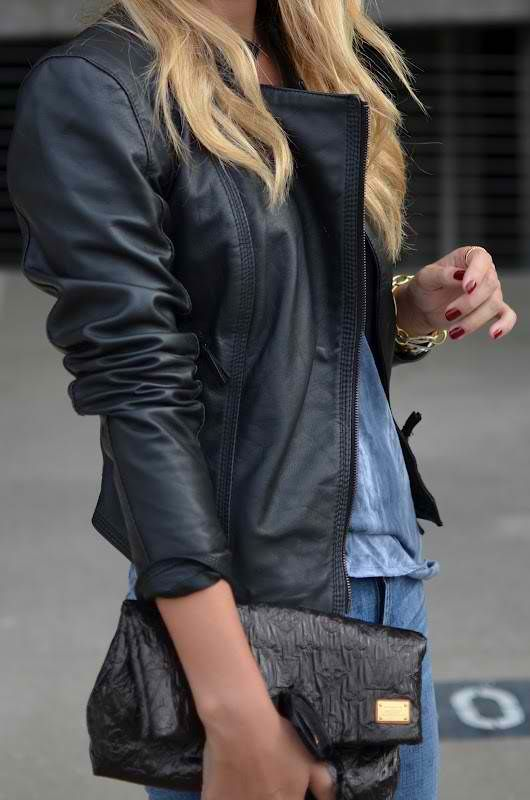 Street Style | Leather Jacket ..........  LEATHER.STYLE http://pinterest.com/robinettekelly/leather-style/