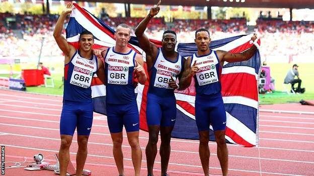 Adam Gemili of Great Britain 4x100m