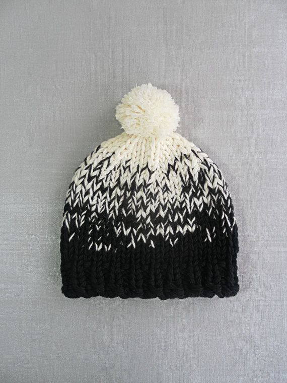 Mabel Made This, Ombre Knitted Bobble Hat with Large Pom Pom, Premium 100% Pure Merino Wool, Hand Knitted to Order