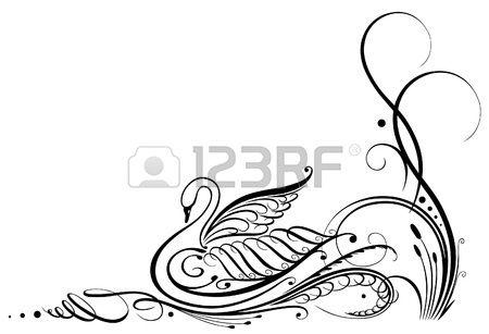 Schwarzer Schwan Kalligraphie Lizenzfreie Bilder