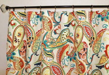 """air of 50"""" wide Covington Whimsy Paisley curtains in Mardi Gras or Multi panels drapes curtains 50x63 50x84 50x96 50x108"""